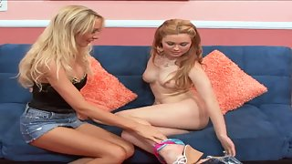 Blonde Strips then Nailed Their Pussies by Double Dildo