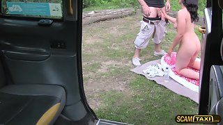 Brunette chick Rebecca gives the taxi driver a wild sex