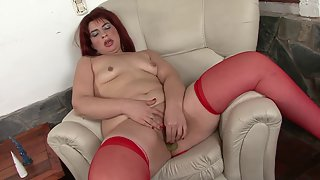 Redhead Mature In Stockings Masturbates a Lot
