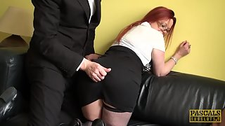 UK redhead sub doggystyled hard until spermed