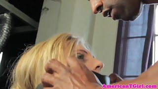 Cocksucking trans babe gets drilled