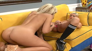 Stunning Blonde Lesbian on Couch Licking then Toying Pussy Indoors