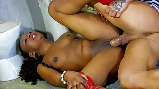 Ebony Babe Gets Rammed in Pussy by White Dick