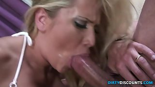 Facialized milf deepthroats hard dong
