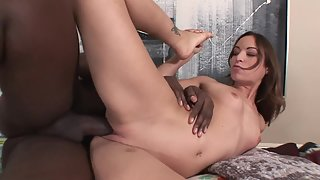 Shaved Pussy Getting Deep Rammed by Meaty Dick Dude after BJ