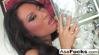 Ebony Whore Asa Akira Masturbates by Huge Dildo